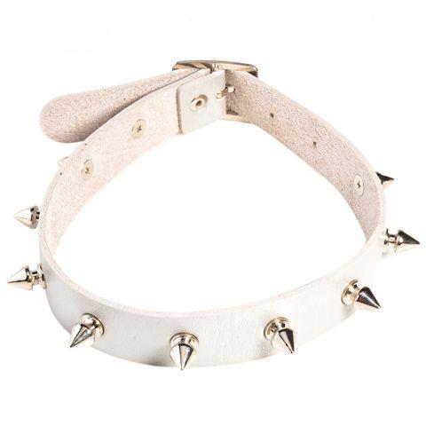 Vintage Faux Leather Bullet Rivet Choker Necklace