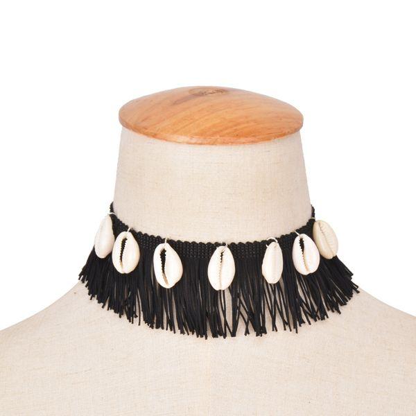 Vintage Faux Conch Tassel Choker Necklace