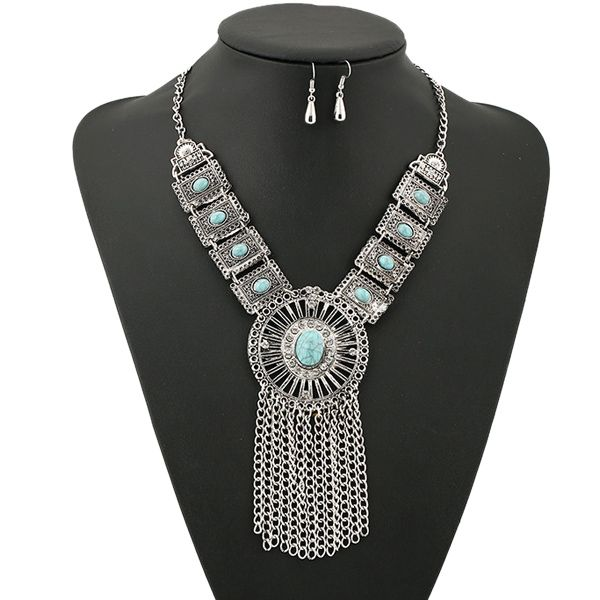 A Suit of Vintage Rhinestone Faux Turquoise Necklace and Earrings