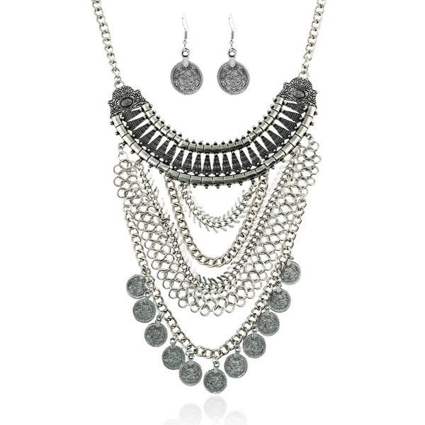 A Suit of Vintage Coins Alloy Necklace and Earrings