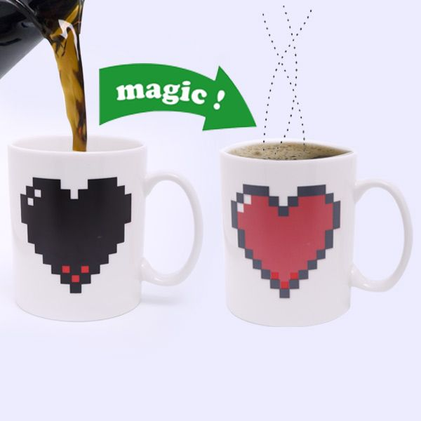 Stylish Heart Pattern Ceramic Heat Reactive DIY Color Changing Mug For Gifts