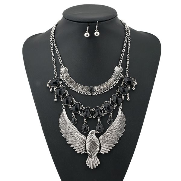 A Suit of Vintage Layered Water Drop Eagle Necklace and Earrings