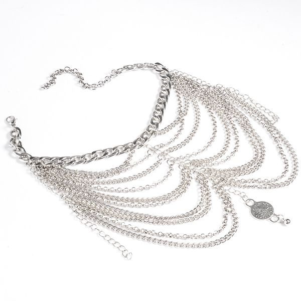Layered Chains Embossed Coin Anklet