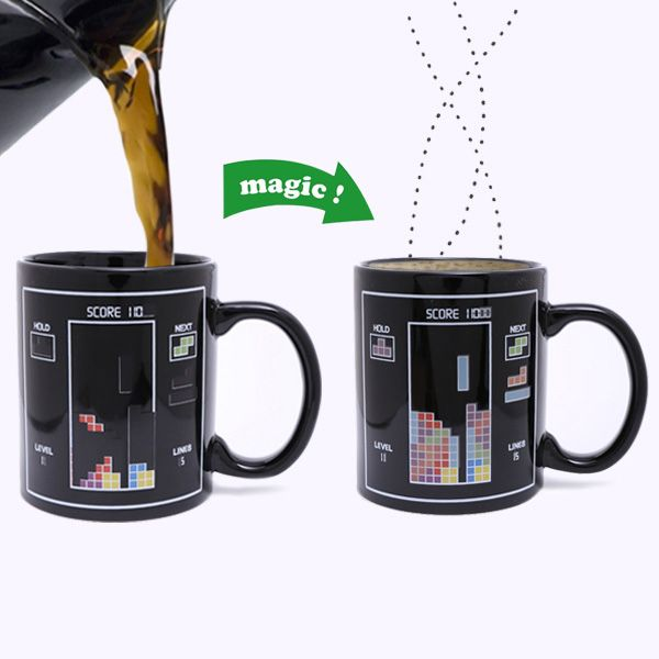 Amazing Tetris Pattern Ceramic Heat Sensitive DIY Color Changing Mug For Gifts