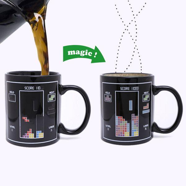 Amazing Tetris Pattern Ceramic Heat Sensitive DIY Color Changing Mug For Gifts