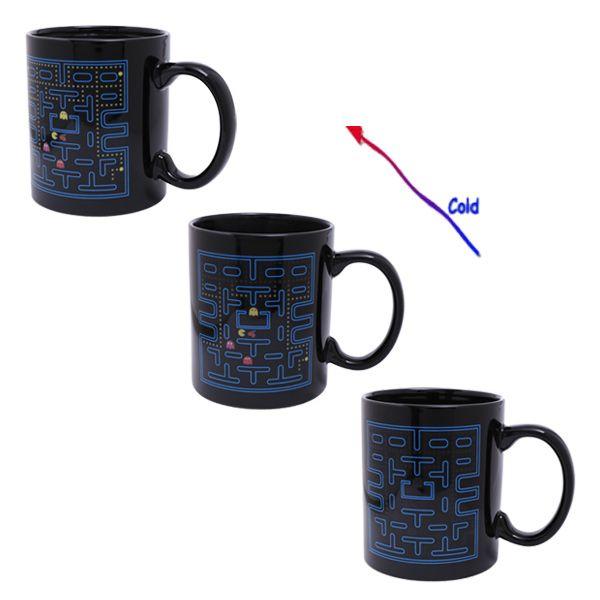 Amazing Pac-Man Pattern Ceramic Heat Sensitive DIY Color Changing Mug For Gifts