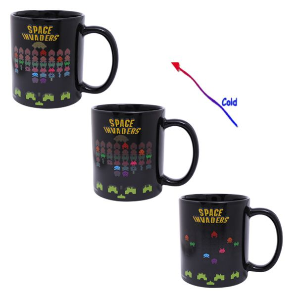 Amazing Space Invader Game Pattern Ceramic Heat Sensitive DIY Color Changing Mug For Gifts