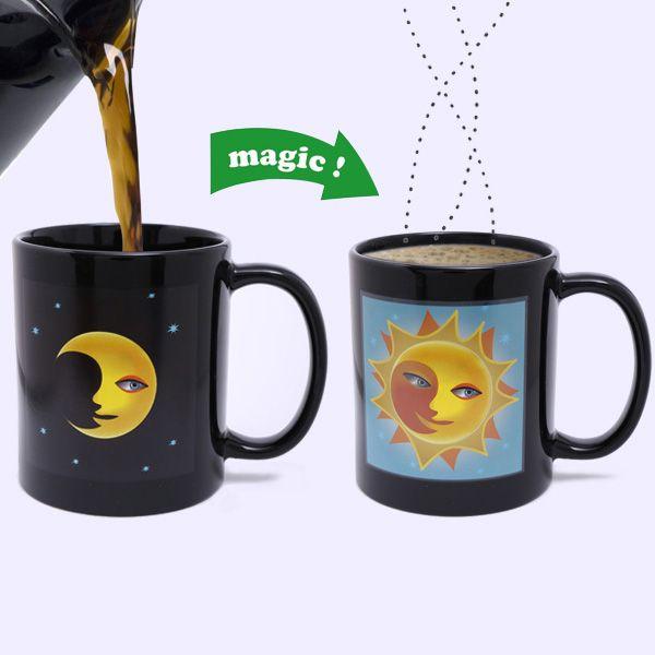 Amazing Sun Moon Pattern Ceramic Heat Sensitive DIY Color Changing Mug For Gifts