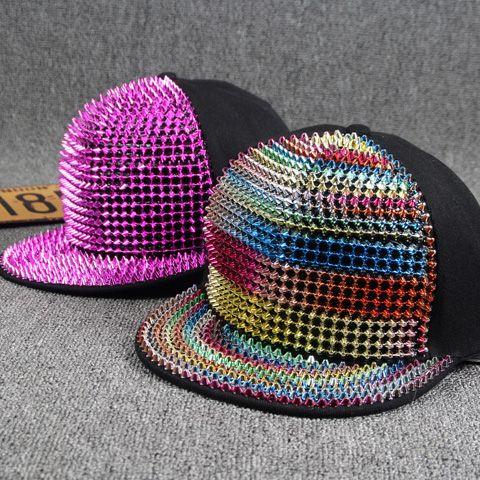 Stylish Colorful Rivet Embellished Nightclub Hip Hop Street Performance Baseball Cap For Women