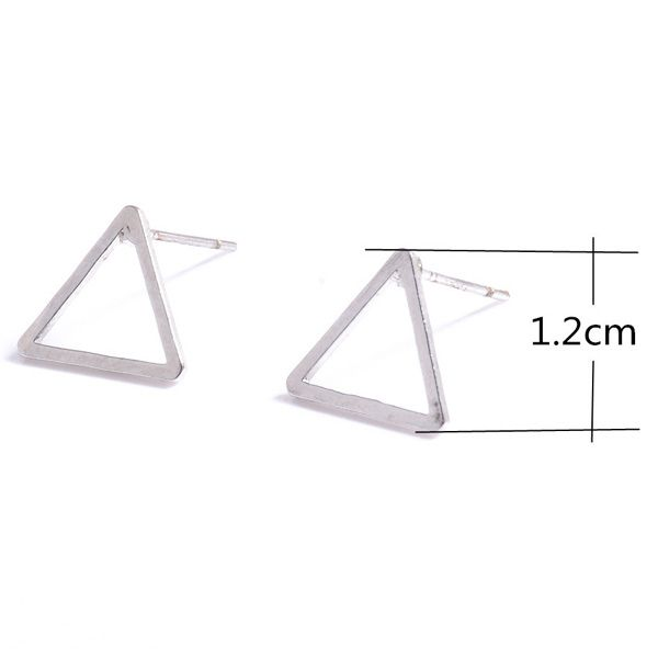 Pair of Alloy Hollowed Triangle Stud Earrings