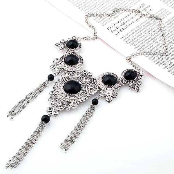 Vintage Faux Gem Water Drop Chains Necklace