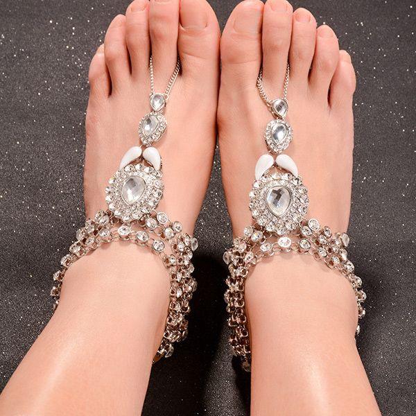 Retro Style Teardrop Shape Rhinestone Anklet