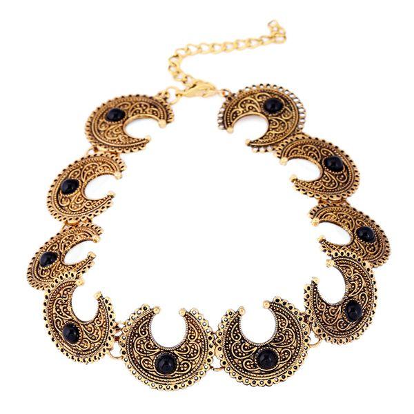 Bohemian Style Faux Gem Moon Necklace