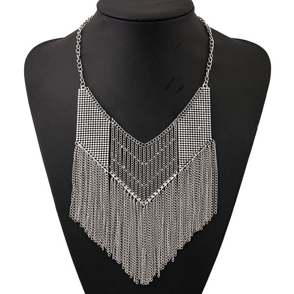 Vintage Hollow Out Geometric Chains Necklace