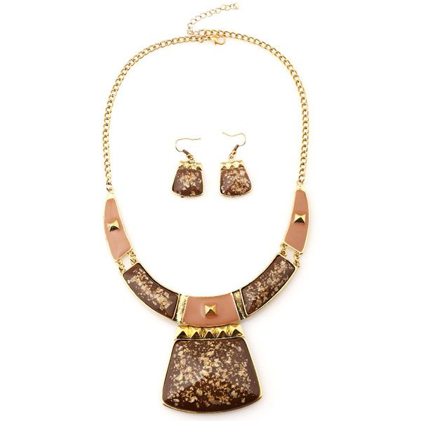 A Suit of Retro Alloy Geometric Necklace and Earrings