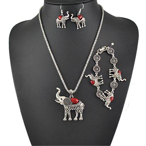 A Suit of Vintage Faux Gem Elephant Necklace Bracelet and Earrings