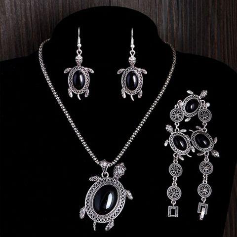 A Suit of Vintage Faux Gem Tortoise Jewelry Set