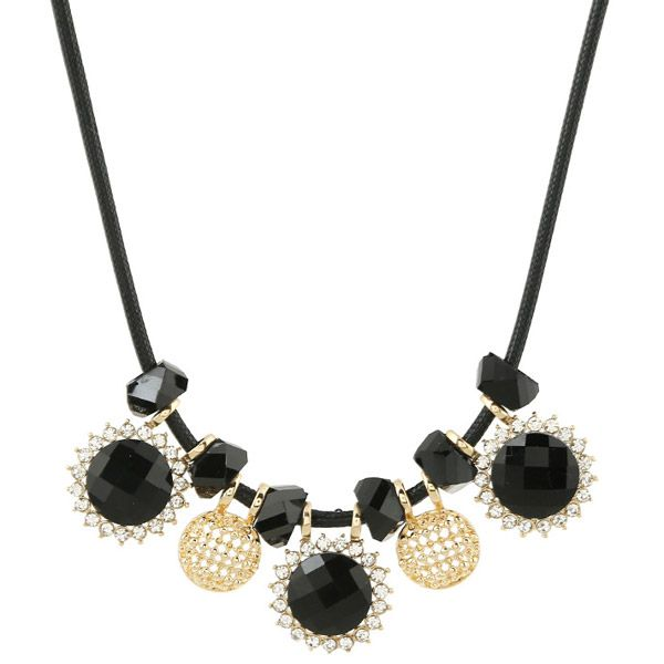 Faux Leather Rope Round Rhinestone Necklace