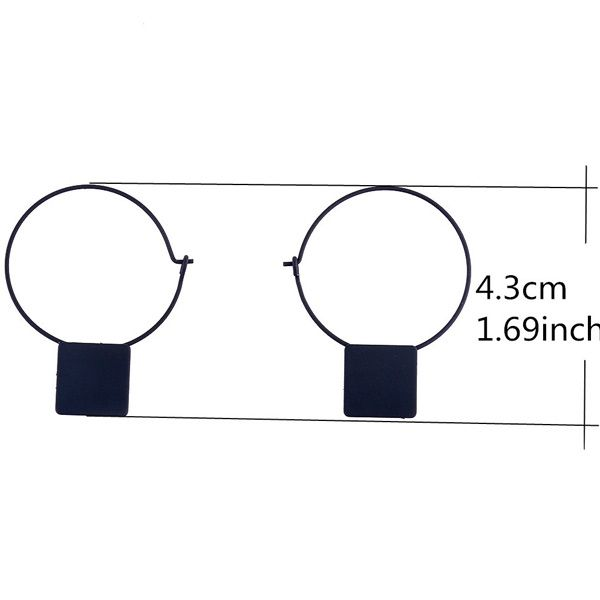 Pair of Circle Square Shape Cut Out Earrings