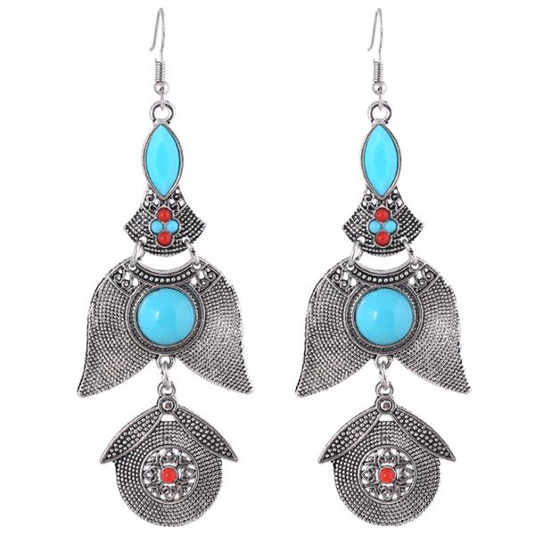 Vintage Geometric Alloy Emboss Beads Earrings