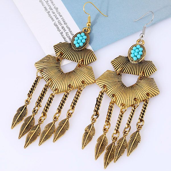 Pair of Vintage Alloy Emboss Beads Leaf Earrings