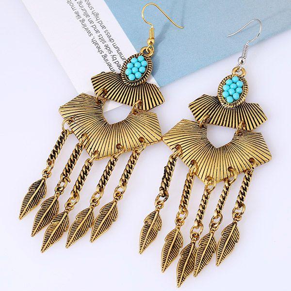 Pair of Vintage Alloy Emboss Beads Leaf Earrings