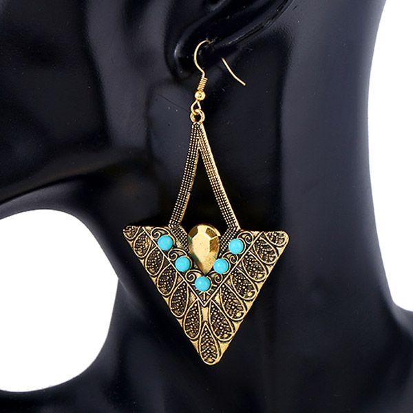 Pair of Vintage Alloy Embossed Beads Triangle Earrings