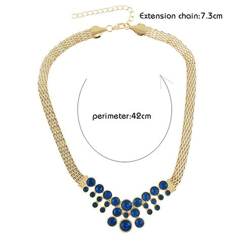 A Suit of Faux Sapphire Alloy Chunky Necklace Bracelet Earrings and Ring