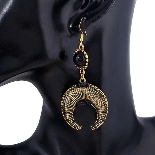 Pair of Bohemian Moon Beads Drop Earrings