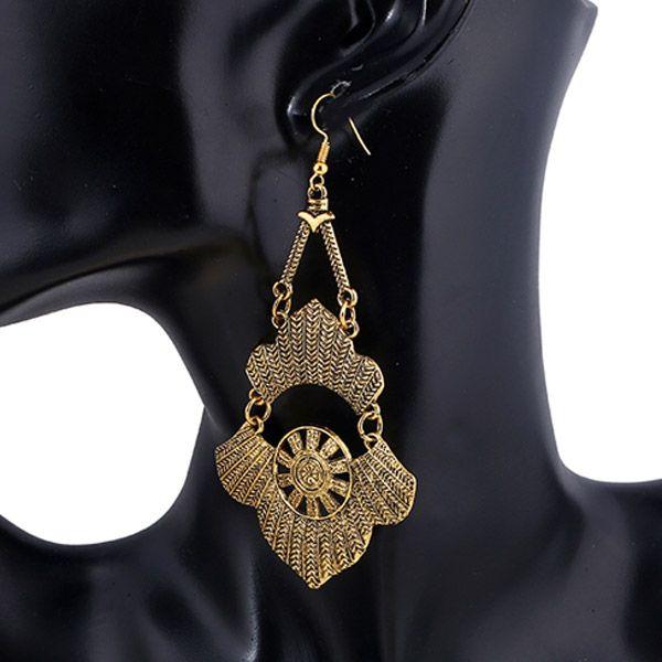 Pair of Bohemian Embossed Floral Drop Earrings