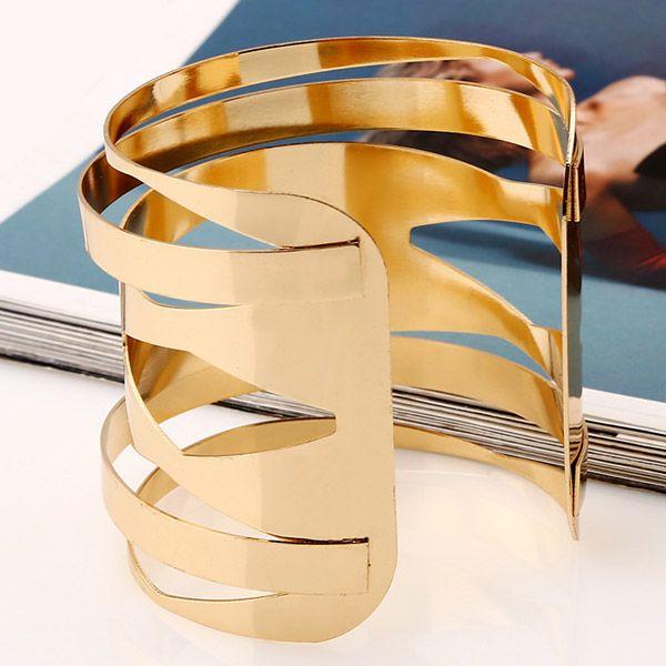 Punk Style Hollow Out Geometric Cuff Bracelet