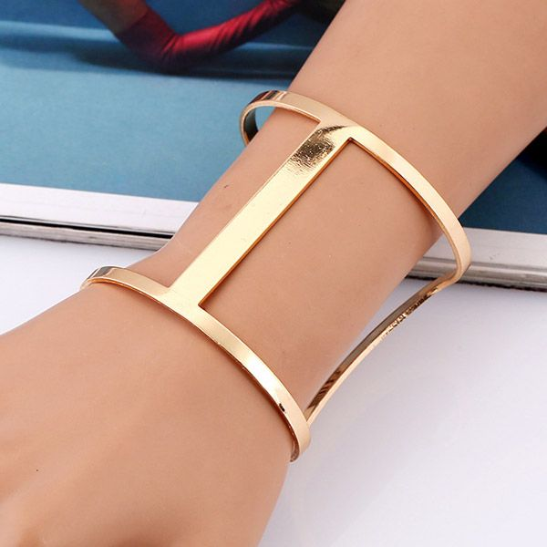 Punk Style Hollow Out Alloy Cuff Bracelet For Women