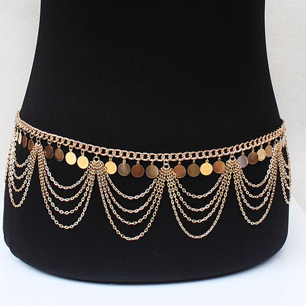 Vintage Multilayered Alloy Sequins Belly Chain For Women