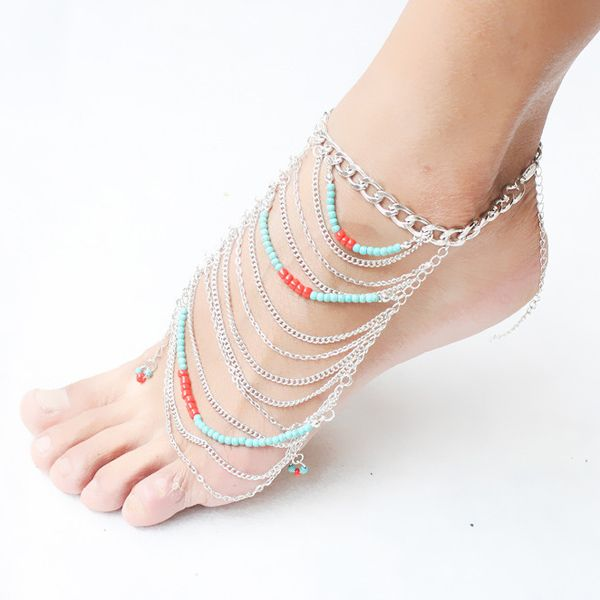 Bohemian Style Multilayered Beads Anklet