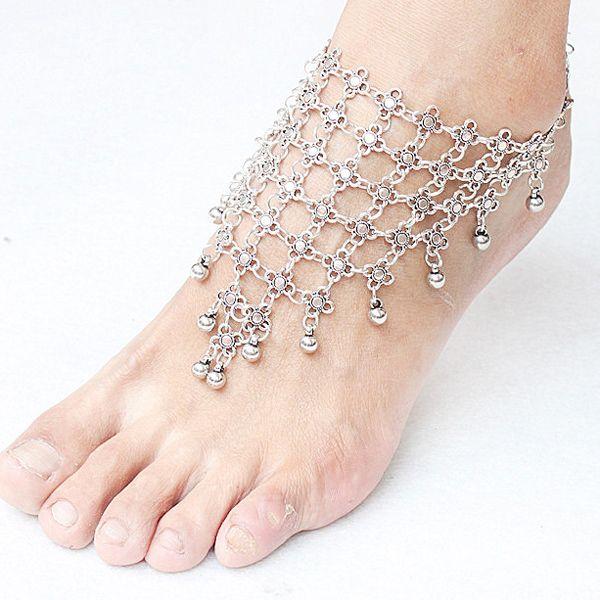 Vintage Alloy Beads Floral Anklet