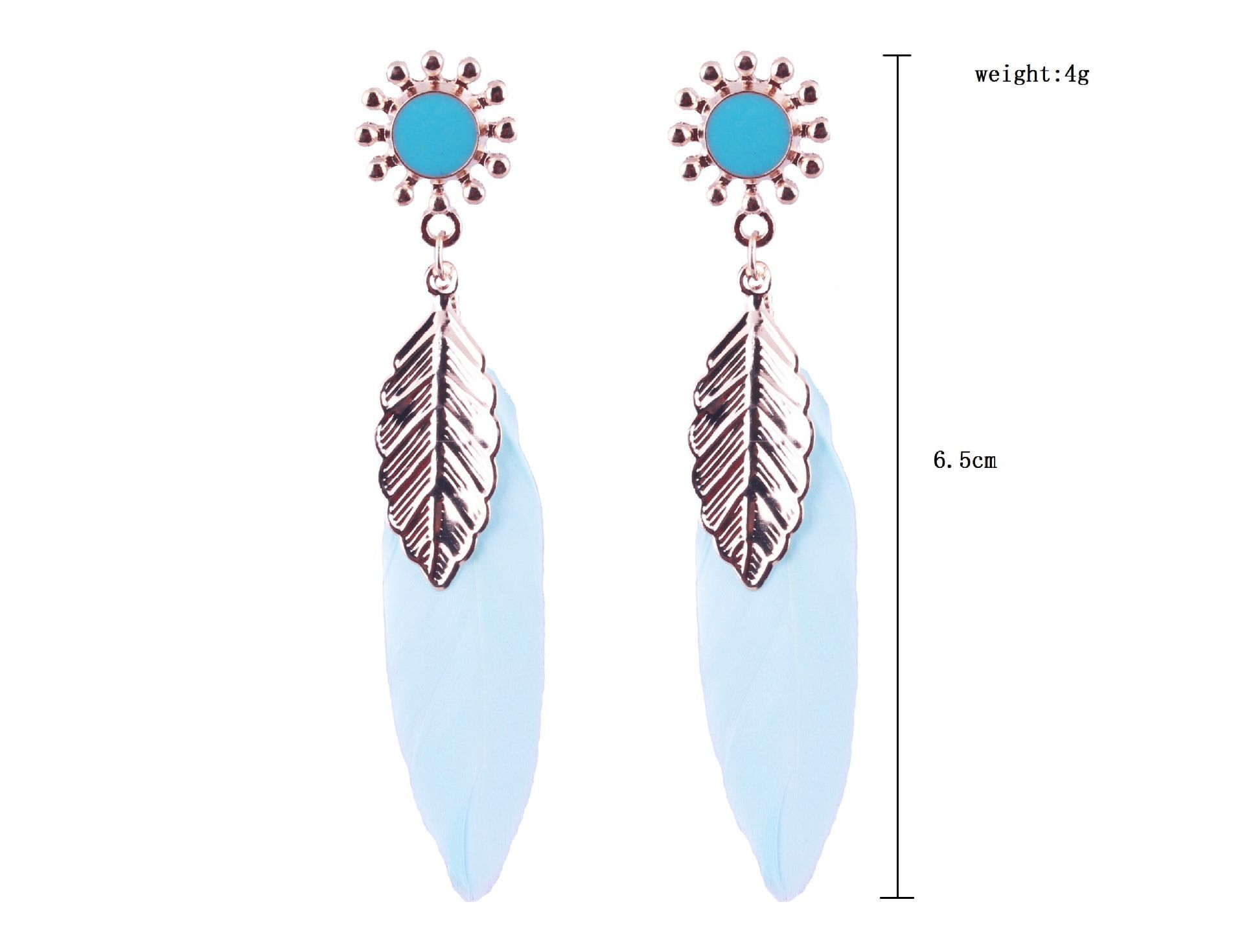 Pair of Alloy Feather Leaf Sunflower Drop Earrings