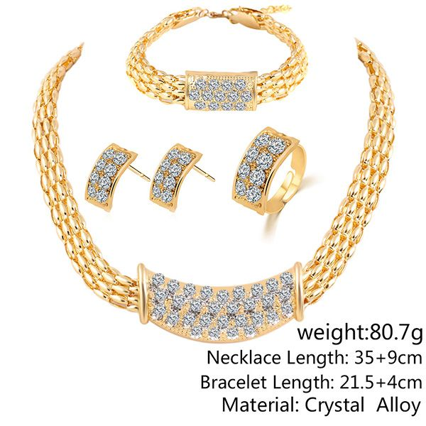 A Suit of Rhinestone Alloy Necklace Earrings Bracelet and Ring