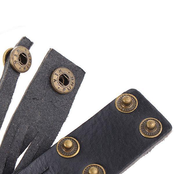 Vintage Faux Leather Alloy Round Bracelet