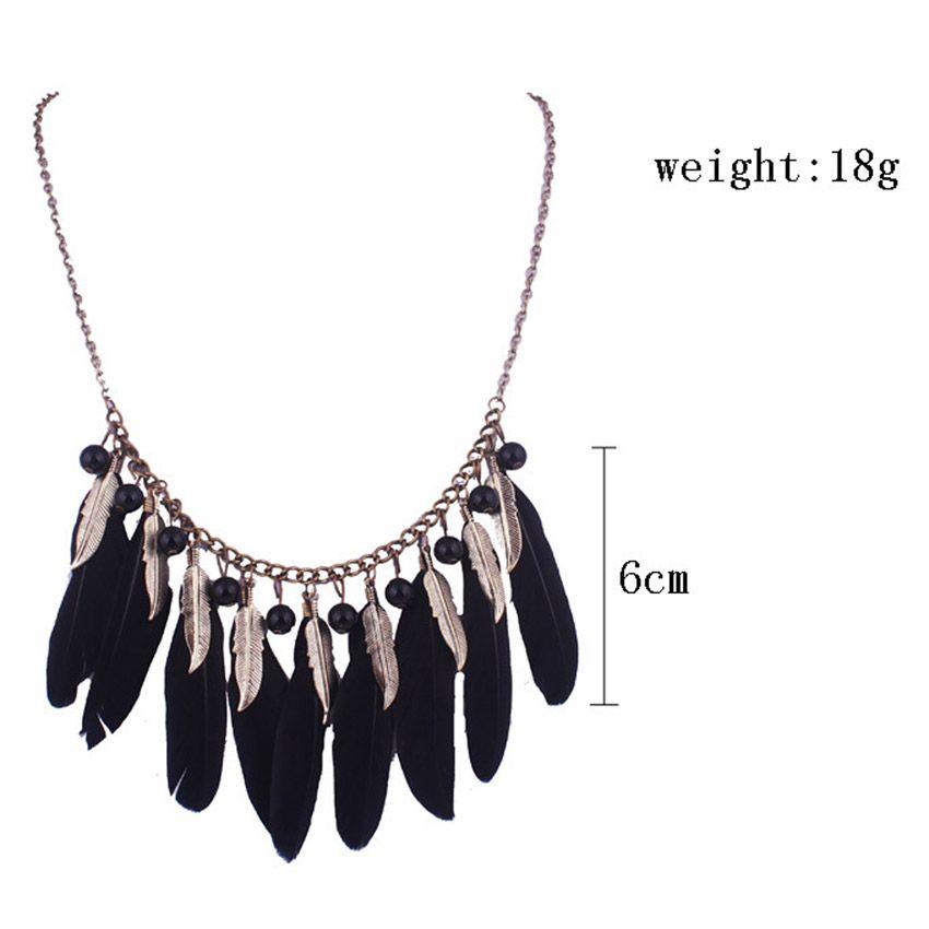 Statement Feathers Leaf Tassel Pendant Necklace