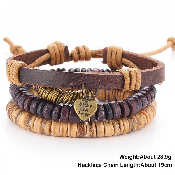 A Suit of Vintage Faux Leather Beads Letter Heart Bracelets