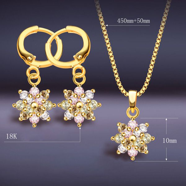 A Suit of Graceful Colored Faux Crystal Necklace and Earrings For Women