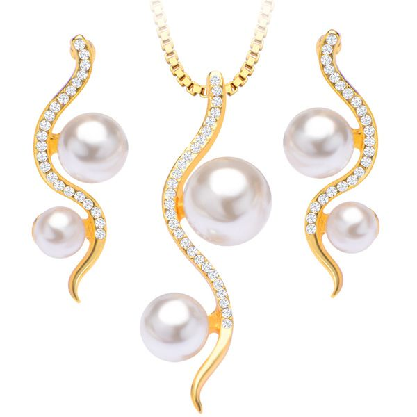 A Suit of Snake Faux Pearl Necklace and Earrings