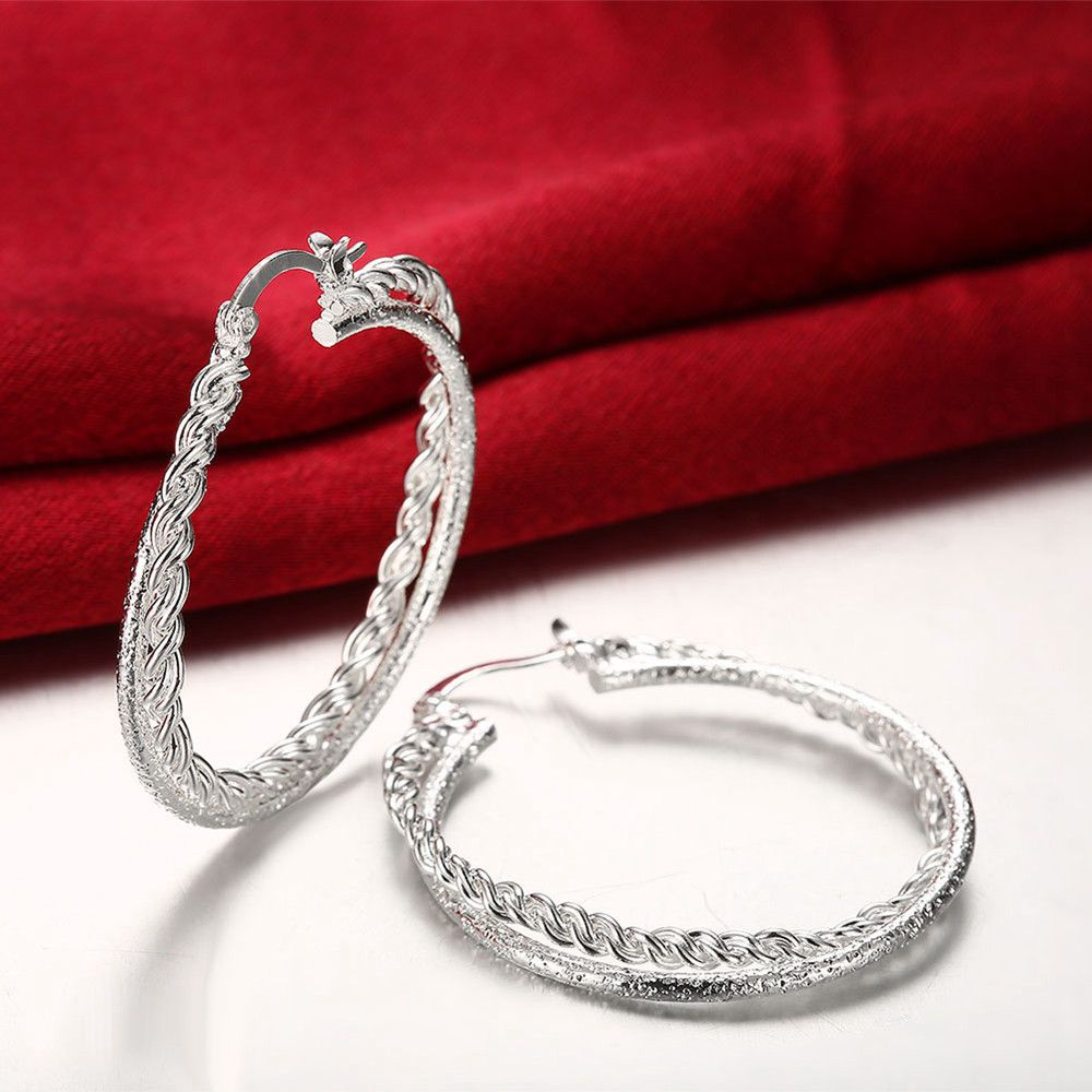 Pair of Double Layered Silver Plated Round Hoop Earrings