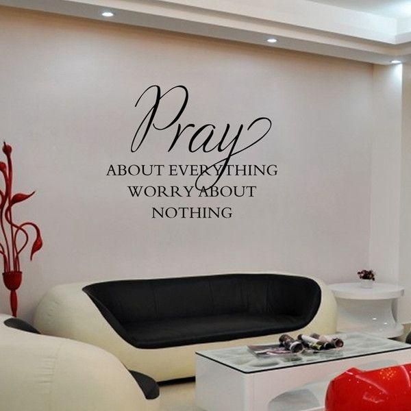 Simple Style Waterproof DIY Bible Pray Proverbs Pattern Wall Sticker
