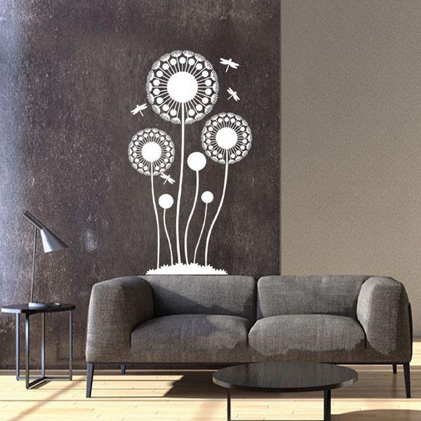 Stylish Waterproof Dandelion and Dragonfly Pattern Wall Sticker