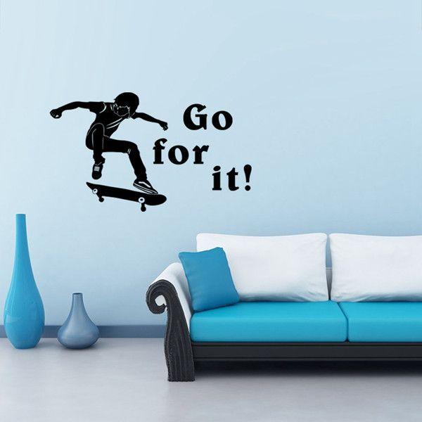 Fashionable Waterproof Skateboard Pattern DIY Wall Sticker