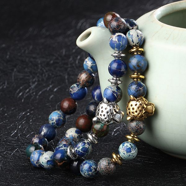 Natural Stone Beads Leopard Head Shape Alloy Bracelet