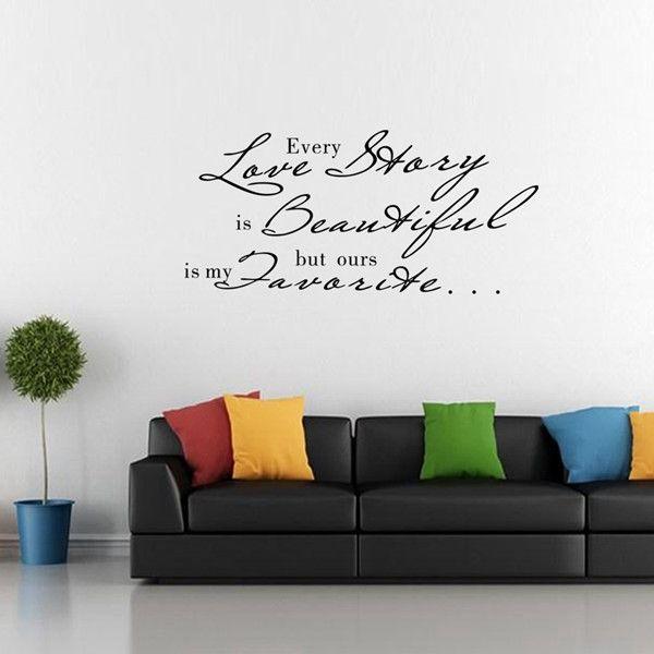 Stylish Waterproof English Love Proverbs Pattern DIY Wall Sticker