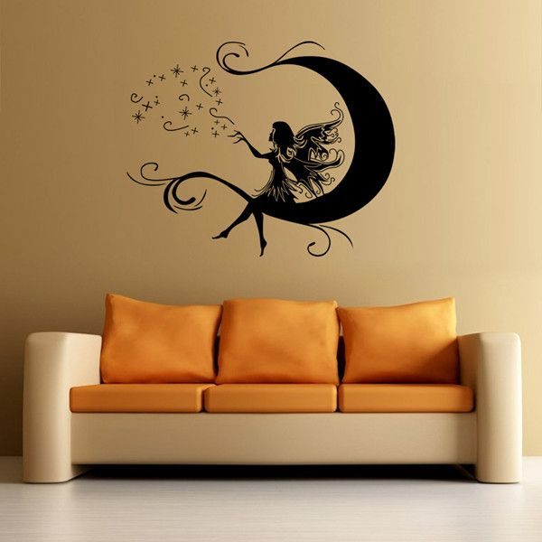 Sweet Cartoon Moon and Flower Faerie Pattern DIY Wall Sticker