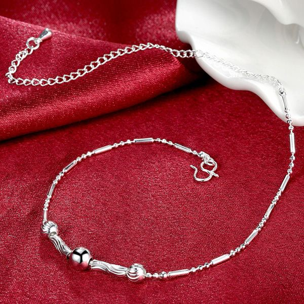 Chic Style Silver Plated Emboss Bead Chain Tassel Anklet For Women